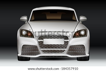 Luxury sports car, front view. Modern non-branded design concept. Dark Background. - stock vector