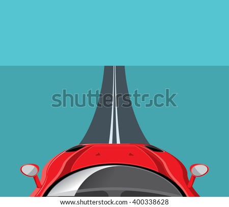 Luxury sports car on empty road. Sport car driving. Expensive automobile poster. Vector illustration - stock vector