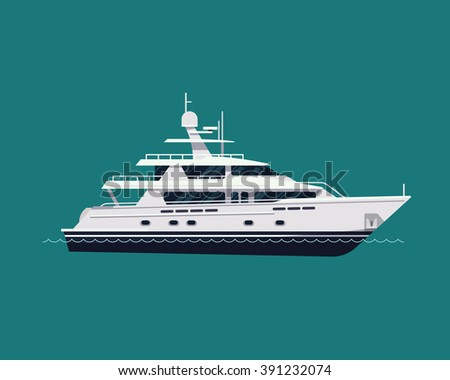 Luxury travel seaway transport vessel item on motor yacht, vector, flat design. White yacht boat, side view isolated. Water travel and tourism design element - stock vector