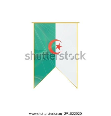 Luxury vertical ribbon with Algeria flag framed in gold
