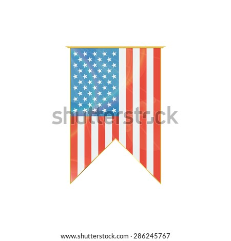Luxury vertical ribbon with USA flag framed in gold