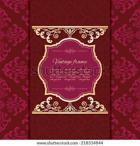 Luxury vintage background template. Seamless damask pattern included. - stock vector