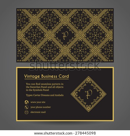 Luxury vintage business card. Vector editable template include front and back side, seamless pattern, retro monogram and contact icons - stock vector