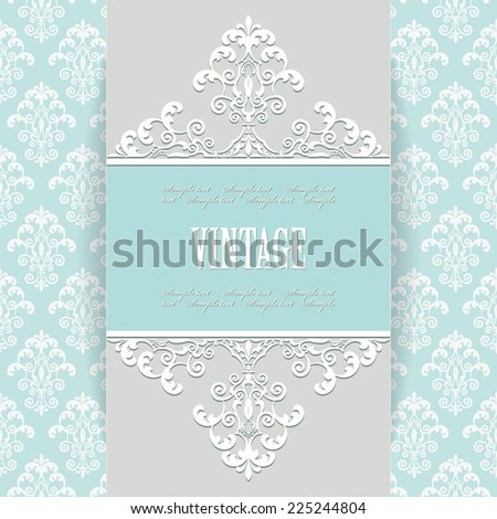 Luxury vintage frame on damask seamless background. Venetian royal style. Perfect for wedding design. Editable. - stock vector