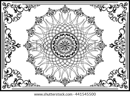 Luxury vintage frame with black ornament on white background - stock vector