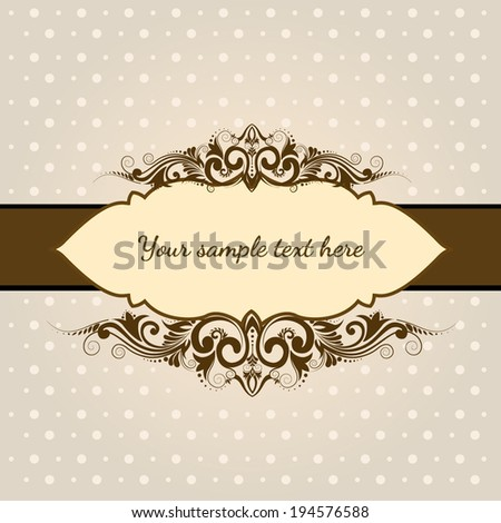 Luxury vintage frame with dotted background - stock vector