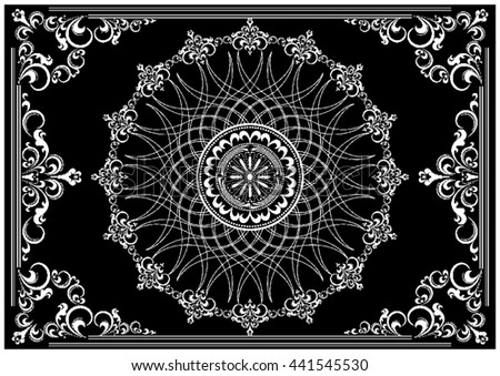 Luxury vintage frame with white ornament on black background - stock vector