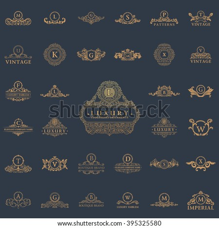 Luxury vintage logo set. Calligraphic emblems and elements elegant decor. Vector ornament for letter - stock vector