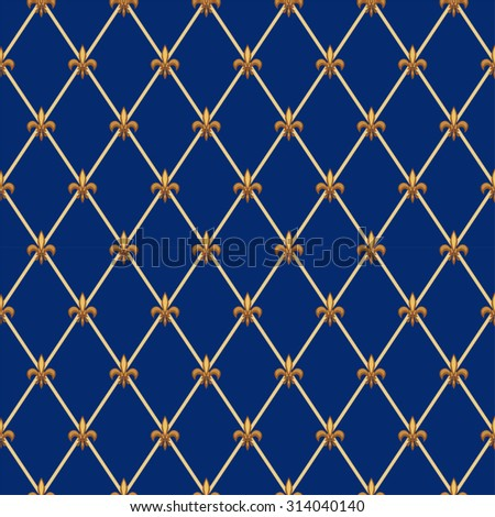 Luxury vintage seamless pattern with  golden fleur de lis on diamond shape grid background, ideal for curtains textile or bed linen fabric or interior wallpaper design etc - stock vector
