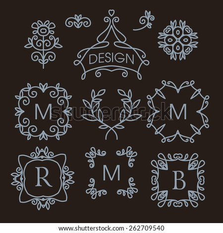 Luxury vintage vector set of floral line design elements for logos, frames and borders in modern style - stock vector
