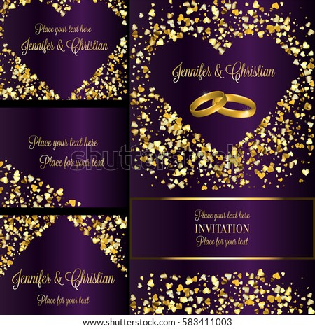Luxury Wedding Invitation And Rsvp Card Set Creative Elements For Celebration Event Two