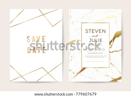 Luxury wedding invitation cards gold marble stock vector 779607679 luxury wedding invitation cards with gold marble texture and geometric pattern vector design template stopboris Gallery