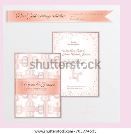 Luxury wedding invitation template rose gold stock vector hd luxury wedding invitation template with rose gold shiny realistic ribbon back and front card layout stopboris Choice Image