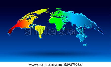Luxury world map rainbow color dotted stock vector 589879286 luxury world map in rainbow color with dotted frame lights on blue background 3d vector gumiabroncs Image collections