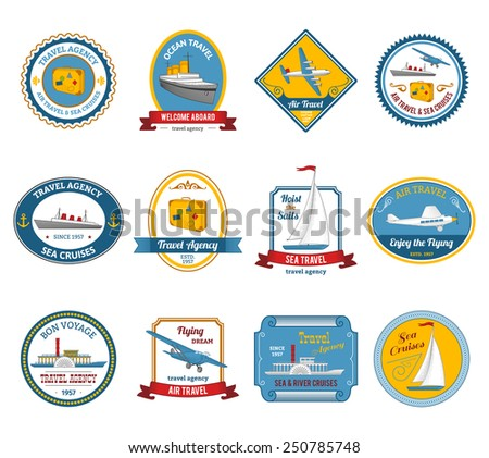 Luxury yacht sea sail dream cruise vacation travel agency offer color icons set abstract isolated vector illustration - stock vector