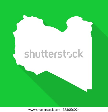 Lybia white map,border flat simple style with long shadow on green  background
