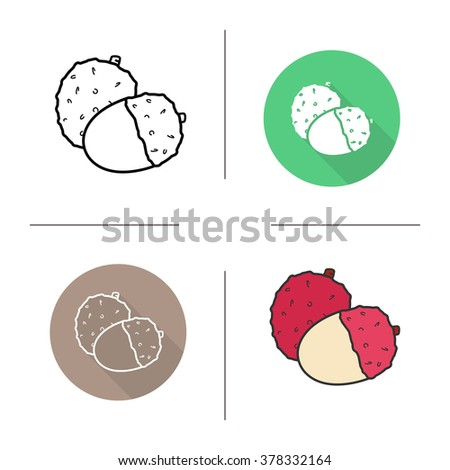 Lychee flat design, linear and color icons set. Ripe lichee icons. Sweet tropical fruit. Peeled lychee fruit. Long shadow logo concept. Isolated liechee vector illustrations. Infographic elements