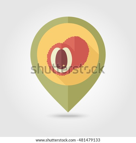 Lychee flat vector pin map icon. Map pointer. Map markers. Tropical fruit. Vector illustration, eps 10
