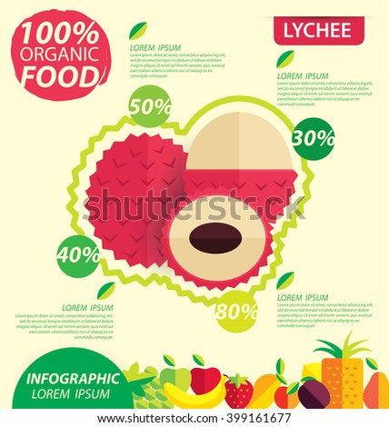 Lychee. Infographic template. vector illustration.