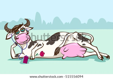 lying cow with music player