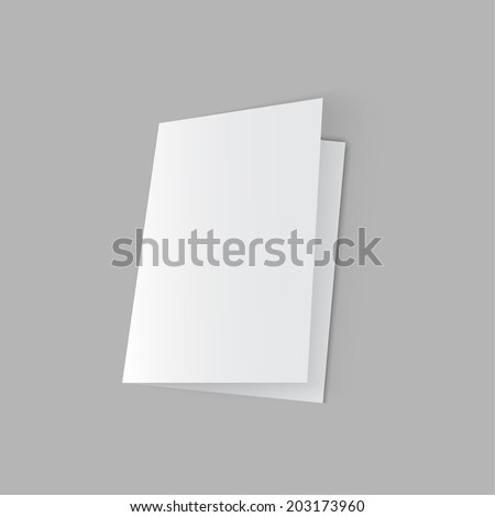 lying half-open blank  fold paper brochure on gray background. Open magazine. Cover for your design - stock vector
