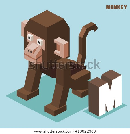 M for monkey. Animal Alphabet collection. vector illustration - stock vector
