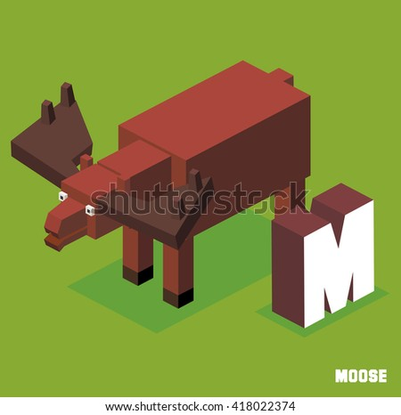 M for Moose. Animal Alphabet collection. vector illustration - stock vector