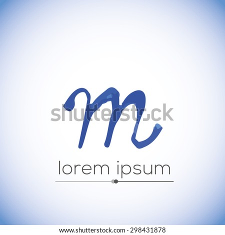 M letter calligraphic hand drawn vector logo (sign, symbol, icon) - stock vector