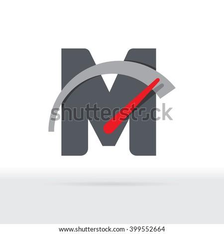 M Letter Car Speedometer, B Letter Meter Logo - stock vector