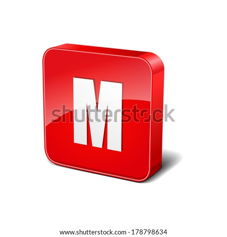 M Letter 3d Rounded Corner Red Vector Icon Button - stock vector