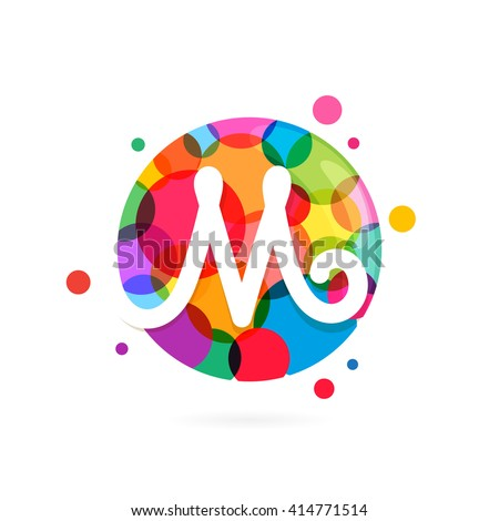 M letter logo in circle with rainbow dots. Font style, vector design template elements for your application or corporate identity. - stock vector