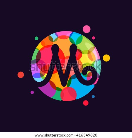 M letter logo with mosaic pattern. Abstract multicolored vector design template elements for your application or corporate identity. - stock vector