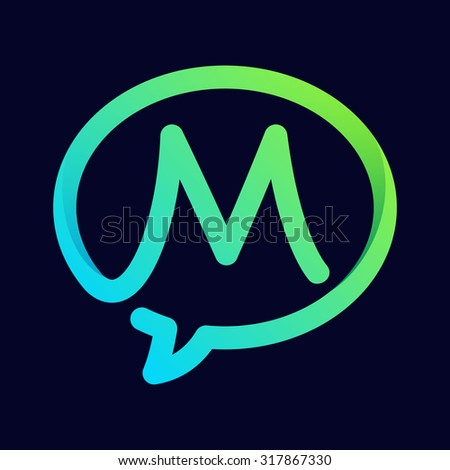 M letter with speech bubble line logo. Abstract trendy letter multicolored vector design template elements for your application or corporate identity. - stock vector