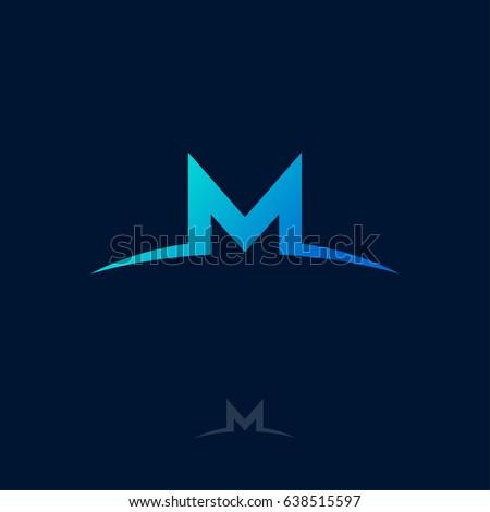 Beautiful M Logo. M Monogram. Blue Letter M On A Dark Background.