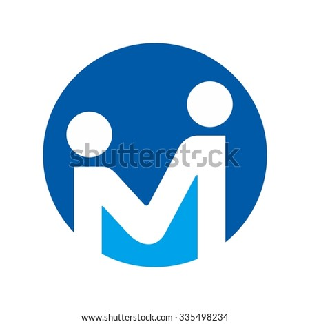 m logo with person symbol. - stock vector