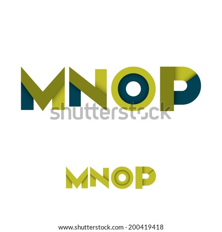 M N O P Modern Colored Layered Font or Alphabet - Vector Illustration - stock vector