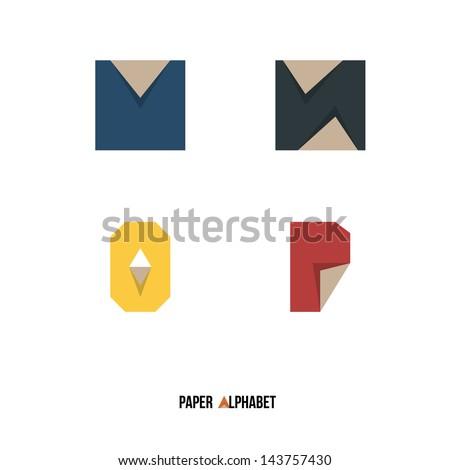 M N O P - Paper Alphabet - Vector Illustration - Typography Element - stock vector