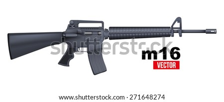 M16 rifle. Vector Illustration isolated on a white background - stock vector