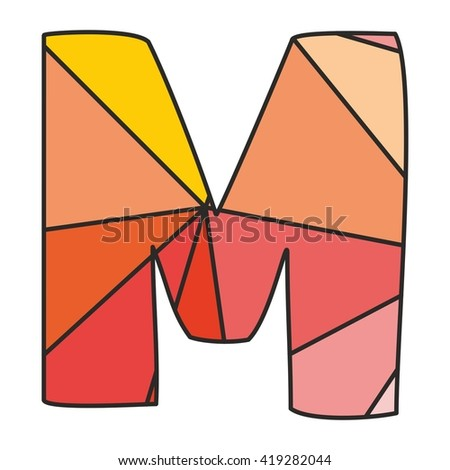 M wrapping surface pastel vector alphabet letter isolated on white background