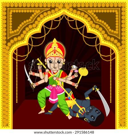 Maa Durga Killing Devil - stock vector