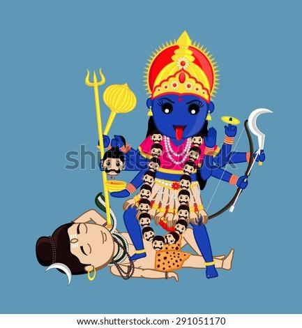 Maa Kali Standing Over Lord Shiva - Indian Mythology Goddess - stock vector