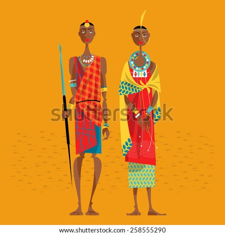 Maasai couple in traditional clothing. Vector illustration - stock vector