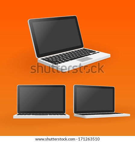 Mac laptop vector with keyboard multiple angles - stock vector