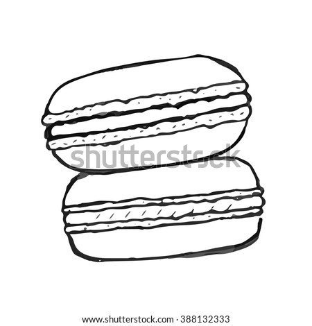 Macaron doodle. Set of vector hand drawn elements