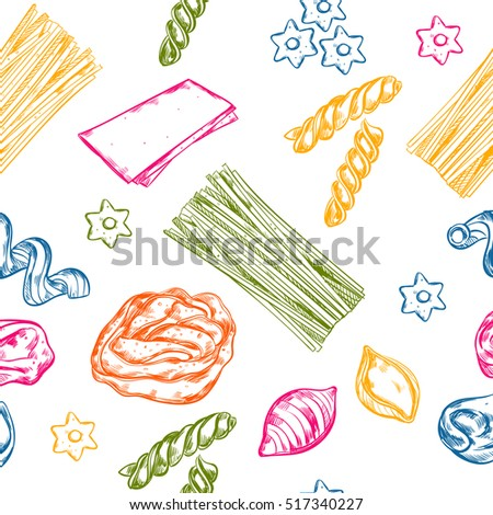 Macaroni pattern with isolated sketch pasta images of different colour and product type on blank background vector illustration
