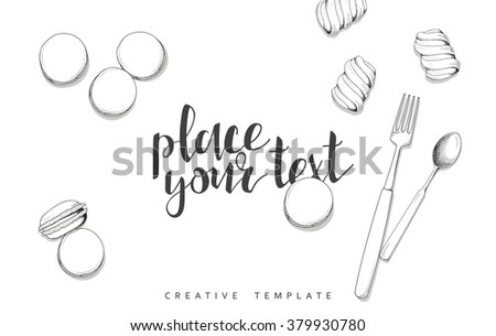 spoons marshmallow sketch conceptual background template stock, Presentation templates