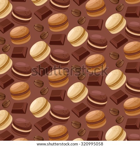 Macaroon Patterns : Coffee And Chocolate Flavor : Vector Illustration - stock vector