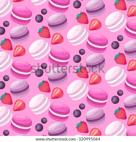 Macaroon Patterns : Strawberry And Blueberry  Flavor : Vector Illustration - stock vector