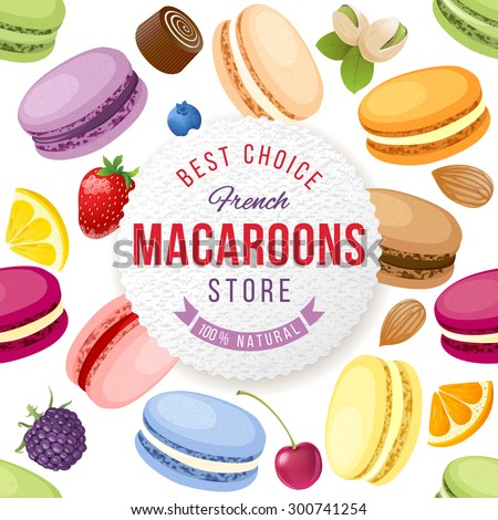 Macaroons store emblem over background with fresh and tasty macaroons - stock vector