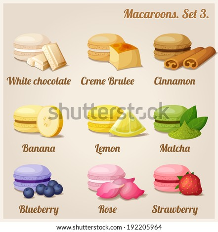 Macaroons with different flavors and fillings. Set 3. - stock vector